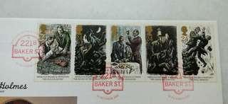 Great Britain UK England Sherlock Holmes Stamps & Special Postmark #2