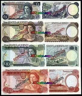 The States Of Jersey Specimen Bank Notes