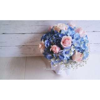 Fresh Hydrangea & Roses Bridal Bouquet (Wedding / ROM/ Engagement/ Bridesmaid / Proposal/ Anniversary)