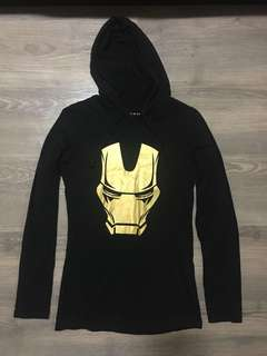 Women Black Ironman Pullover Hoodie w/ Front Pocket