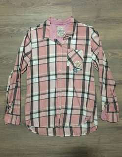 Women Checkered Shirt w/ Rose Embroidery