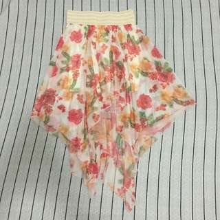 Floral Long Back Chiffon Skirt