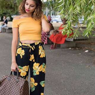 YELLOW OFF SHOULDER SUMMER TERNO AND PANTS