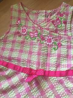 Dress-pink, green and white checkered 8yo