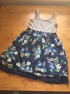 Dress - gray top & floral skirt 7-8yo