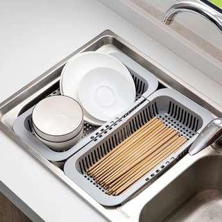 🚚 廚房伸縮瀝水架-灰