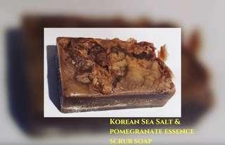 Korean Sea Salt & Pomegranate Handmade Glycerin Rich Essence Scrub Soap