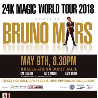 Bruno mars 24k magic tour 2018 Malaysia Selling 3 of cat3 tickets