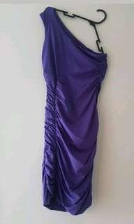 purple one shoulder kookai dress