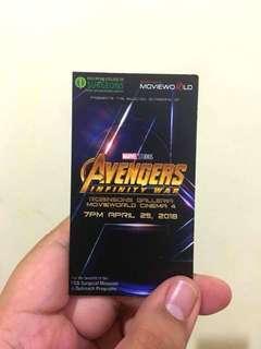 Avengers: Infinity wars premiere ticket