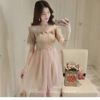 LACE OPEN SHOULDER COMBINED CHIFFON DRESS