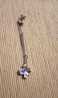 Swarovski crytal cross single pierce