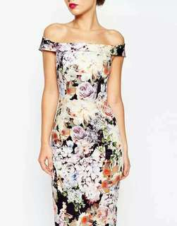0FF SHOULDER FLORAL BODYCON DRESS
