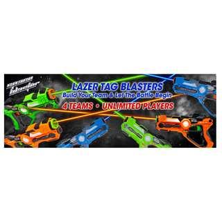 Laser Tag Blaster Set - Multiplayer Battle Gun Team Game 2pcs Pack (Green & Orange)