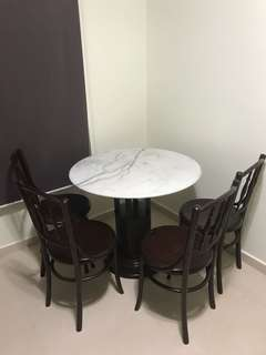 Retro Marble Dining Table And Chairs