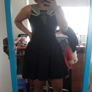 Black mesh swing dress