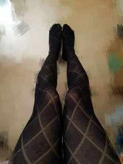 菱格黑色絲襪