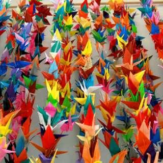 Origami burung sudah jadi untuk dekor