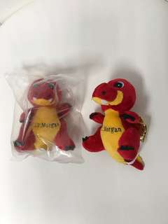 Soft toy - red dinosaur with JP Morgan logo.  2 available