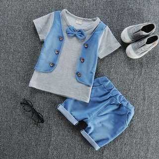 Grey button vest set