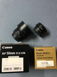 50mm Lens 1.8 STM and MOUNT ADAPTER EF-EOS M nice as new usage for less than two month