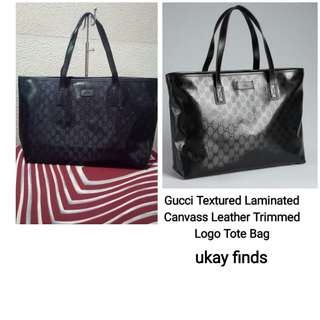 Gucci Texture Laminated Monogram Leather Canvass Tote