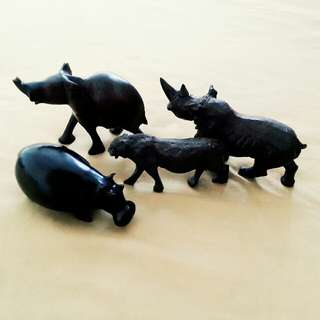 African Handcrafted/Handcarved Wooden Animal Sculptures