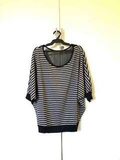 Black and Gray Striped Top from the US