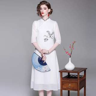 pure ramie white modern cheongsam dress