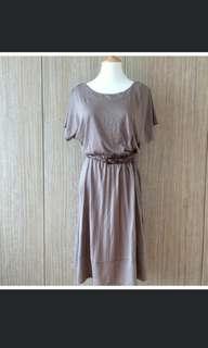 🚚 [PRICE REDUCED] Zara Taupe Long Midi Pleated Dress
