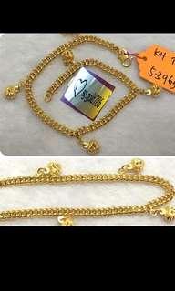 916 Gold Bracelet with love dangles 18cm