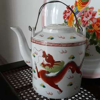 Vintage 1970s Porcelain Dragon and Phoenix Chinese Teapot