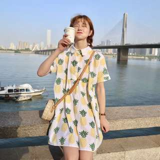 Oversized pineapple polo baby doll dress
