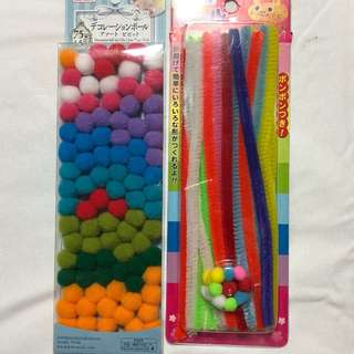 Poms poms and pipecleaners for craft