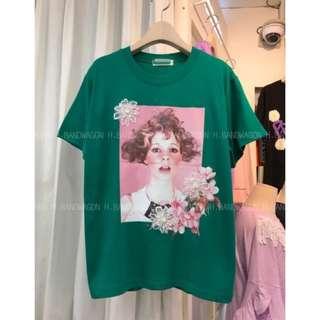 【H.BANDWAGON】韓國甜美立體蕾絲花朵捲毛女孩照片印花圓領短袖T恤 棉T Tee 短T