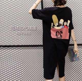 🚚 春夏新款辛普森卡通印花寬鬆開叉短袖中長款T恤 連身裙