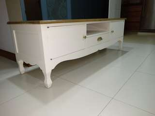 Classic Aged White TV Console, gold knobs, solid wood top