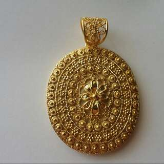 Handcrafted Tambourin Pendant Silver  Yellow Gold Plated