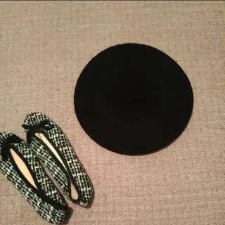 🚚 全新 時尚 經典黑 貝雷帽 畫家帽