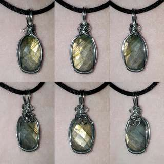 🦉Very Nice, both side Faceted Labradorite(灰月光石) wire wrap in Silver plated copper wire.