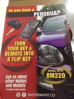 Flip key remote Perodua only
