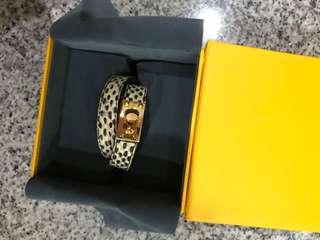 Fendi python leather double stranded bracelet