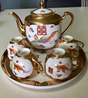 Chinese Wedding Teapot Set Gold Phoenix Double Happiness Vintage 1950s