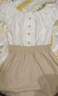 🚚 棉質舒適日系氣質縮腰洋裝 杏配白