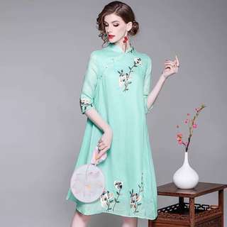 Tunic loose modern Chinese costume cheongsam pink linen dress plus size