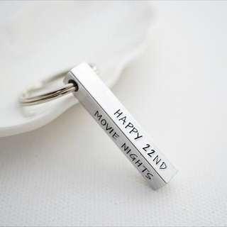 Personalised keychain Hand stamped 4 sided Aluminium keychain name keychain
