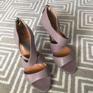 Authentic Diane Von Furstenburg DVF mushroom grey high heels