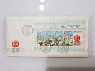 first day cover, untorn, 1986, ntuc, 25th anniversary, commemorative stamp issue