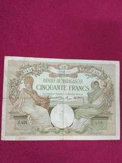 Madagascar 50 Francs 1937 scarce issue