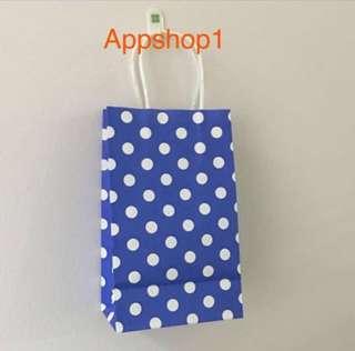 Polka dot Paper bag - goody bag, goodies bag packages, goodie bag carrier